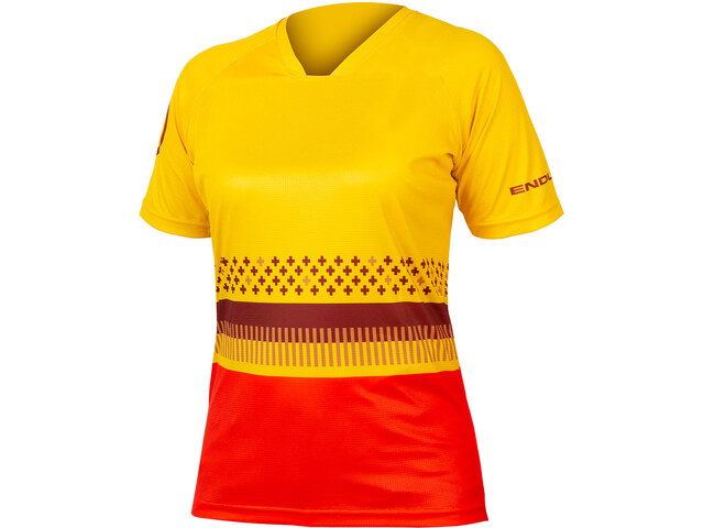 Endura SingleTrack Print T-Shirt Damen saffron